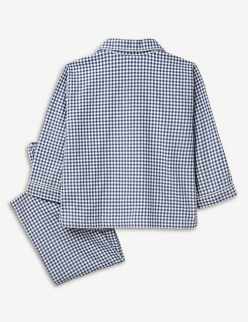 THE LITTLE WHITE COMPANY Mini gingham cotton pyjamas 7-12 years