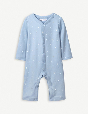 THE LITTLE WHITE COMPANY Moon and Star cotton sleepsuit