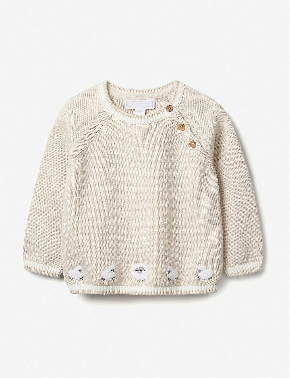 THE LITTLE WHITE COMPANY: Lamb-print organic-cotton jumper 0-24 months