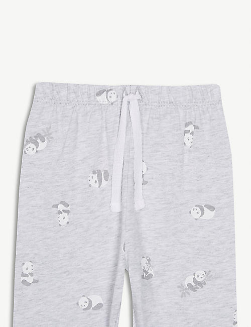THE LITTLE WHITE COMPANY Panda print cotton leggings 0-24 months