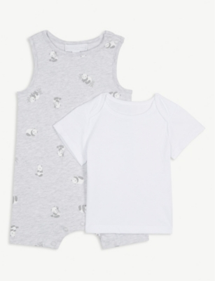 THE LITTLE WHITE COMPANY Panda print cotton romper & T-shirt set 0-24 months