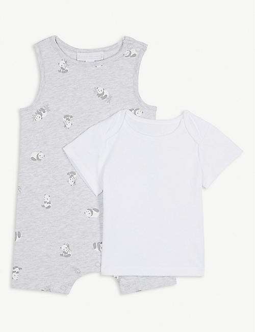 7e3d4b69cda9 THE LITTLE WHITE COMPANY Panda print cotton romper   T-shirt set 0-24