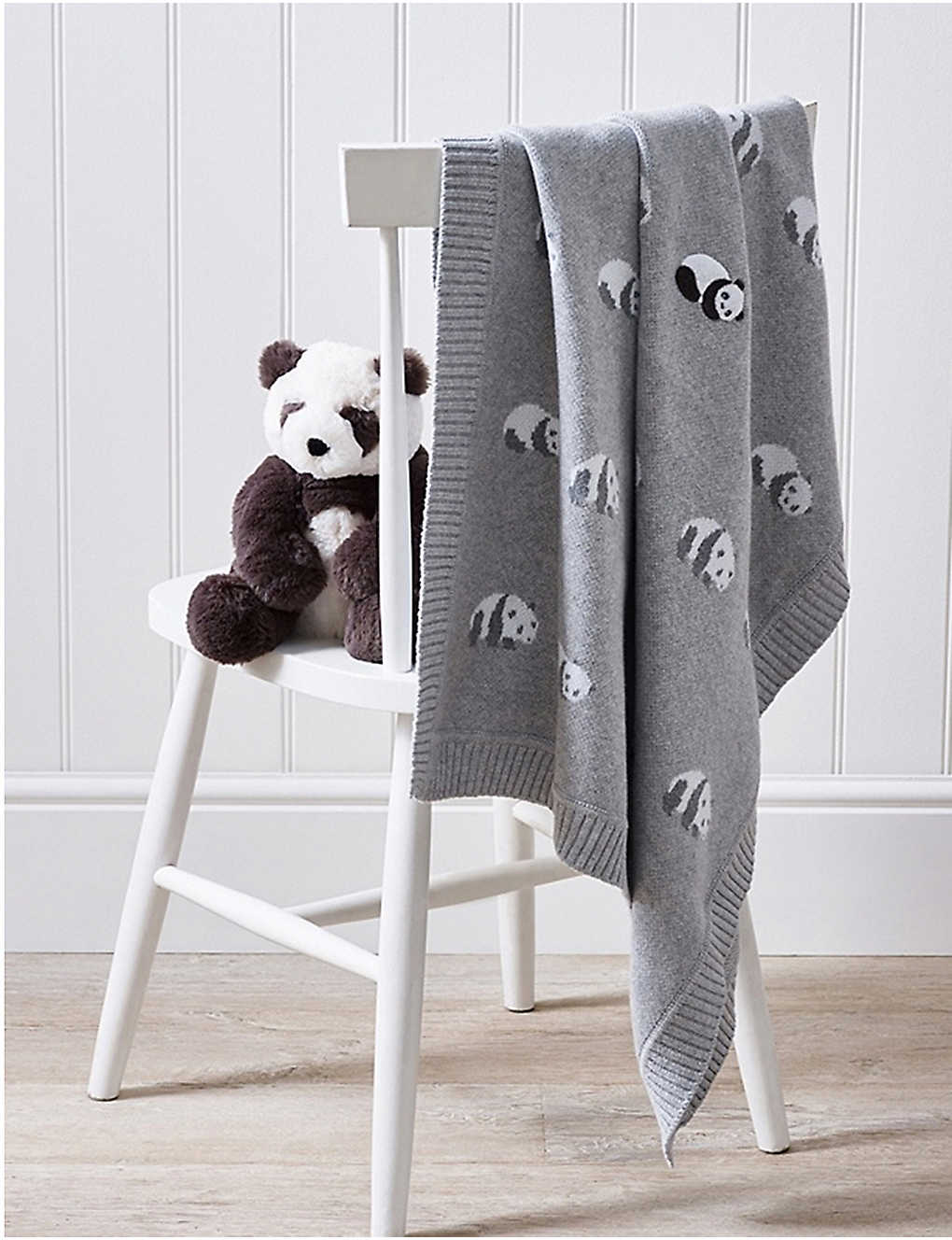 THE LITTLE WHITE COMPANY: Panda cotton baby blanket