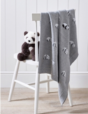 THE LITTLE WHITE COMPANY Panda cotton baby blanket