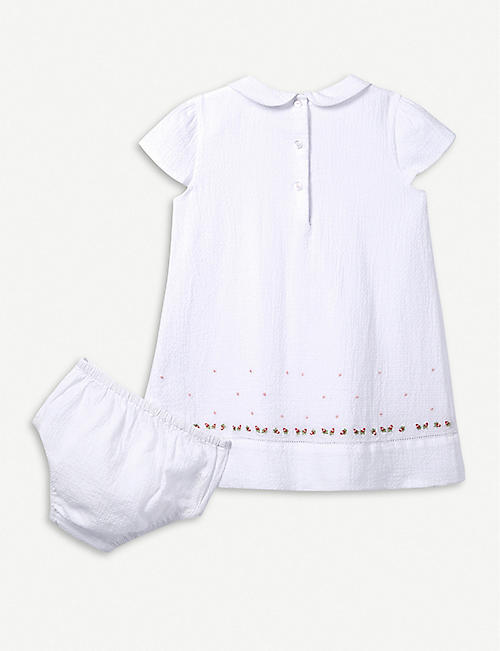 THE LITTLE WHITE COMPANY Rose-embroidered cotton dress 0-24 months