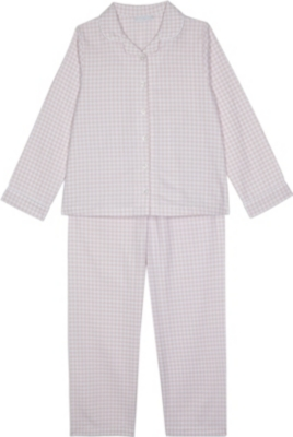 THE LITTLE WHITE COMPANY Gingham check pyjamas 7-12 years