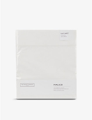 THE WHITE COMPANY: Pimlico Stripe cotton emperor flat sheet 320cm x 290cm