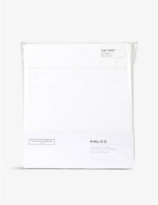 THE WHITE COMPANY: Pimlico Egyptian-cotton super king flat sheet 305cm x 275cm