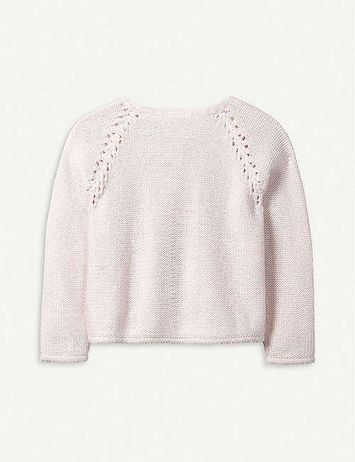 THE LITTLE WHITE COMPANY Knitted detail cotton and wool-blend cardigan 1-6 years