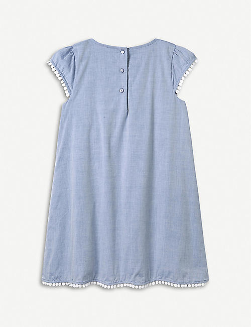 THE LITTLE WHITE COMPANY Pintuck chambray cotton dress 1-6 years
