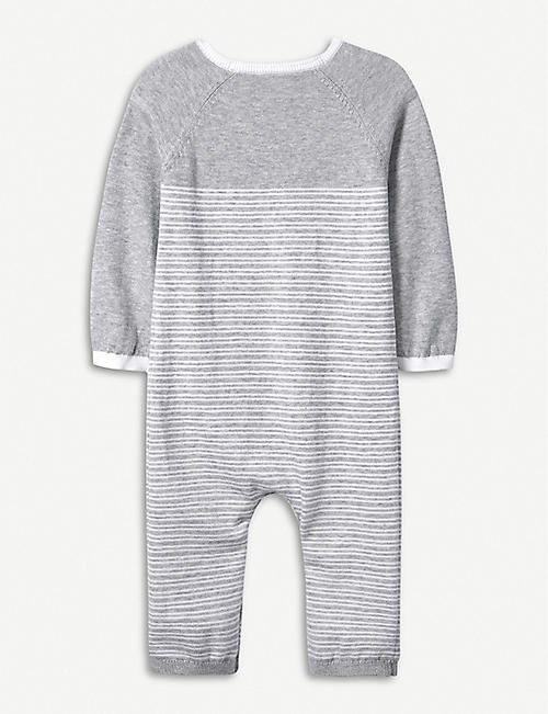 THE LITTLE WHITE COMPANY Panda knitted cotton romper 0-24 months