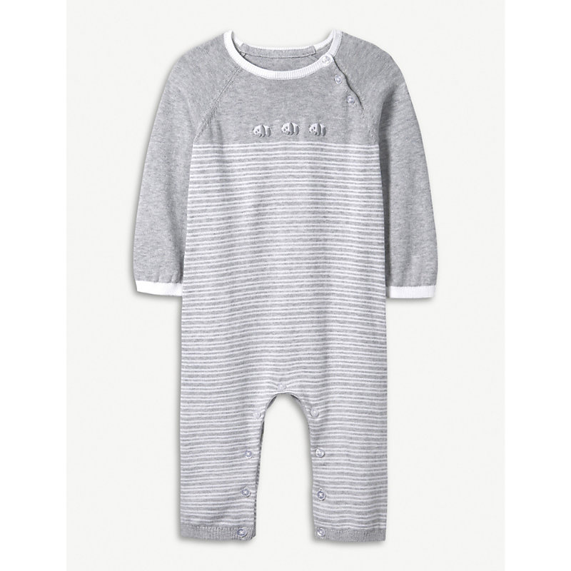 THE LITTLE WHITE COMPANY | Panda Knitted Cotton Romper 0-24 Months | Goxip