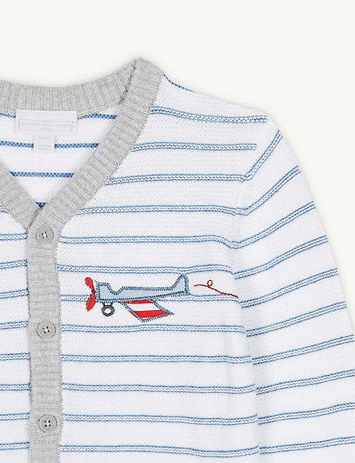 THE LITTLE WHITE COMPANY Striped plane cotton cardigan 1-6 years