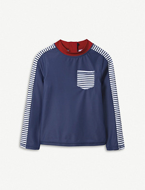 THE LITTLE WHITE COMPANY Striped pocket-detail rash vest 1-6 years