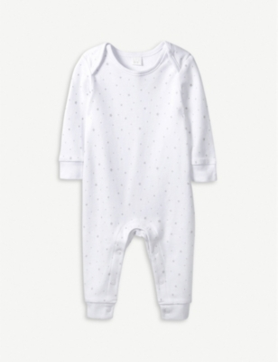 THE LITTLE WHITE COMPANY Star print cotton sleepsuit 0-24 months