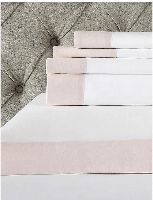 THE WHITE COMPANY: Portobello cotton-linen super king flat sheet 275x305cm