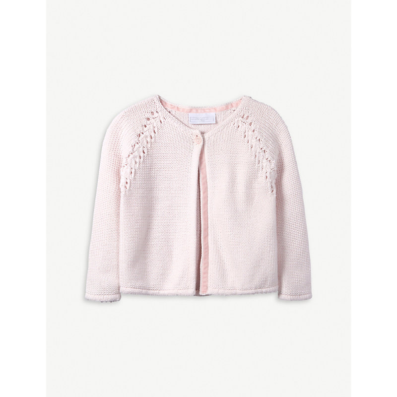 THE LITTLE WHITE COMPANY | Raglan Stitch Cotton Cardigan 0-24 Months | Goxip