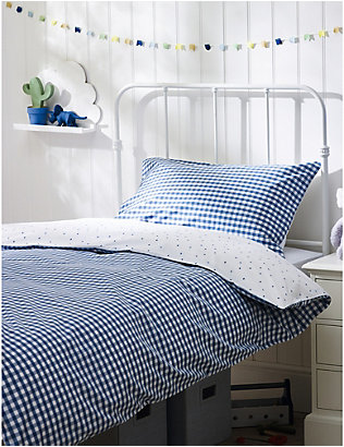 THE LITTLE WHITE COMPANY: Reversible gingham cotton cot bed pillowcase