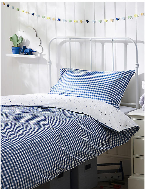 THE LITTLE WHITE COMPANY: Reversible gingham cotton single linen set