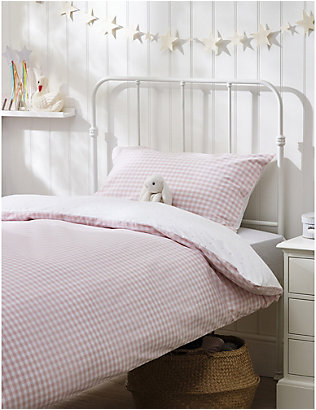 THE LITTLE WHITE COMPANY: Reversible cotton single bed linen set