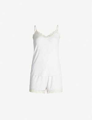 THE WHITE COMPANY Lace-trim stretch-jersey pyjama set