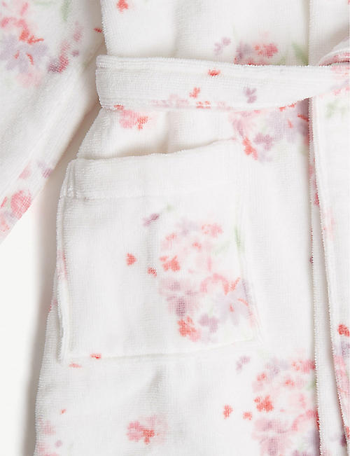 THE LITTLE WHITE COMPANY Floral cotton robe 1-12 years