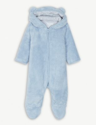 THE LITTLE WHITE COMPANY Bear ears fleece romper 0-24 months