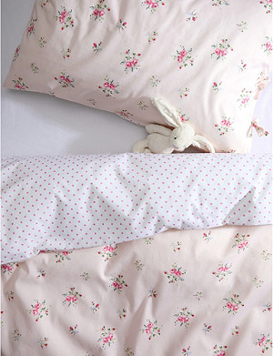 THE LITTLE WHITE COMPANY Rosie cotton cot bed linen set