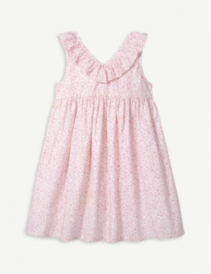 THE LITTLE WHITE COMPANY Floral print ruffle sleeve dress 1-6 years