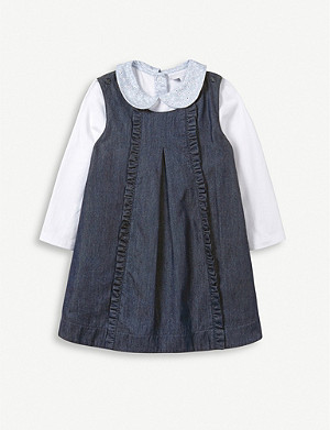 THE LITTLE WHITE COMPANY Ruffled cotton-jersey dress and stretch-cotton baby-grow 0-2 years