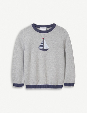 THE LITTLE WHITE COMPANY Graphic-intarsia cotton jumper (1-6 years)