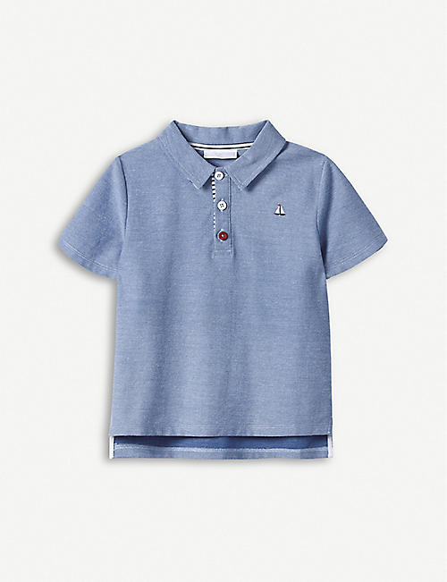 THE LITTLE WHITE COMPANY Sailboat cotton polo top 1-6 years