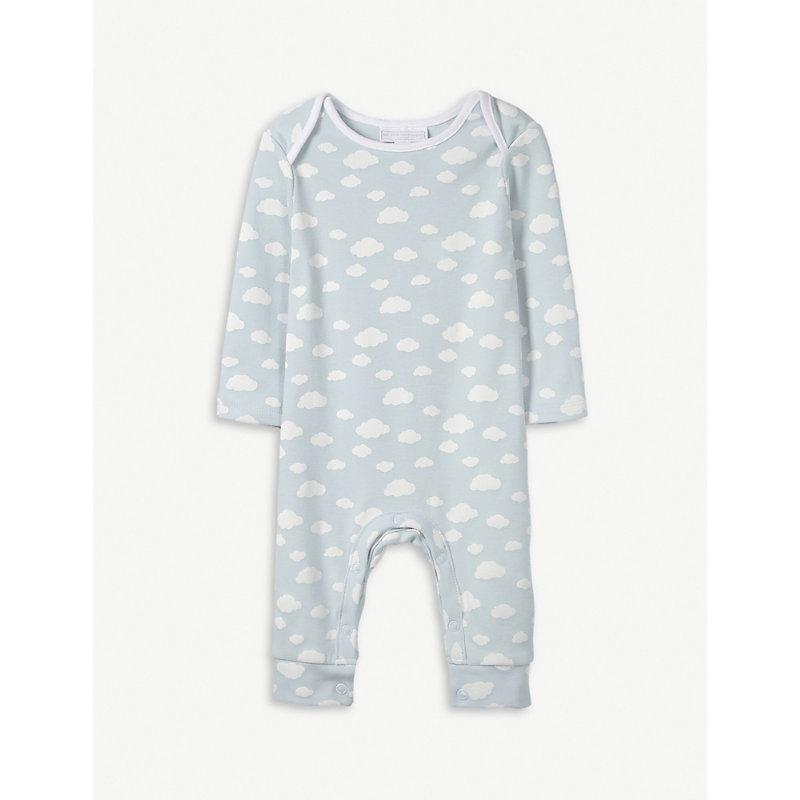 THE LITTLE WHITE COMPANY | Cloud Print Cotton Sleepsuit 0-24 Months | Goxip