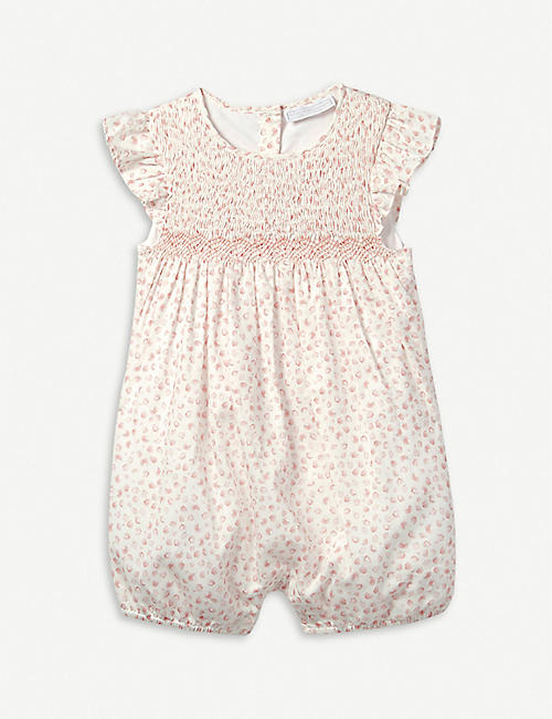 6ead7fafa3b6 THE LITTLE WHITE COMPANY Strawberry-print cotton romper 0-24 months