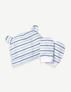THE LITTLE WHITE COMPANY Striped cotton hat and mitts set 0 - 1 years