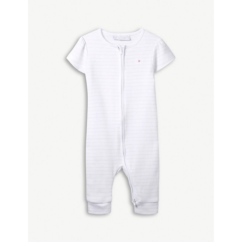 THE LITTLE WHITE COMPANY | Zip-Front Heart-Embroidered Cotton Sleepsuit 0-24 Months | Goxip