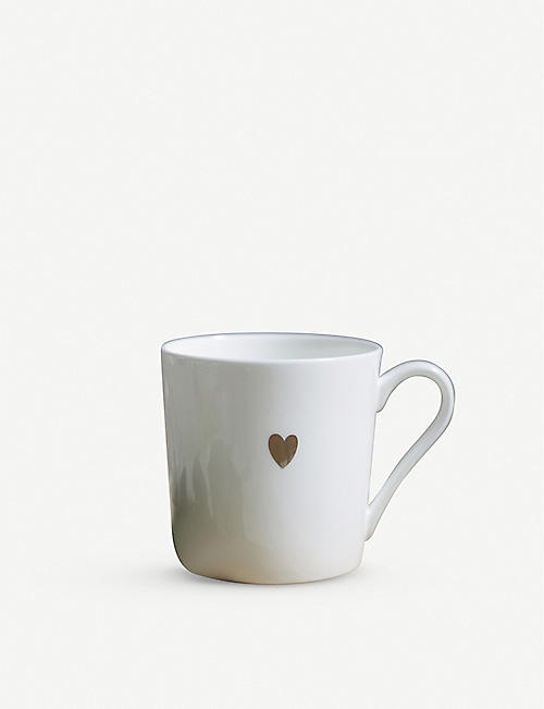 THE WHITE COMPANY: Heart bone-china mug 9cm