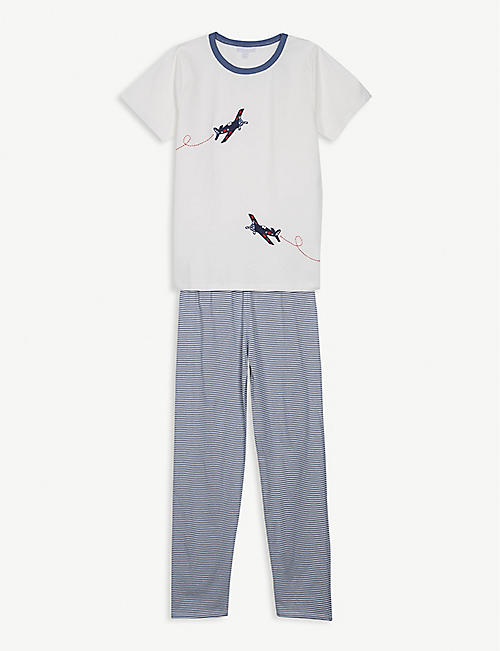 THE LITTLE WHITE COMPANY Plane scene cotton pyjamas 1-12 years