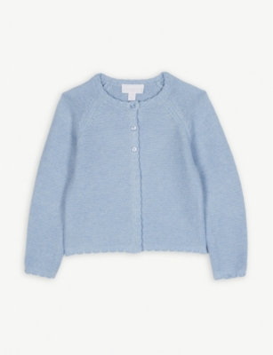 THE LITTLE WHITE COMPANY Scalloped trim cotton cardigan 1-6 years