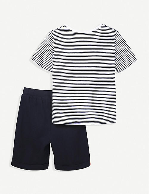 THE LITTLE WHITE COMPANY Hero T-shirt & shorts cotton set 1-6 years