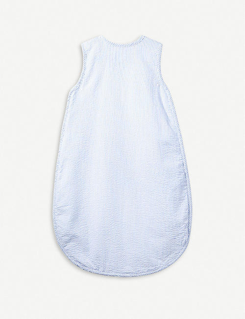 THE LITTLE WHITE COMPANY Seersucker stripe car-embroidered cotton sleeping bag