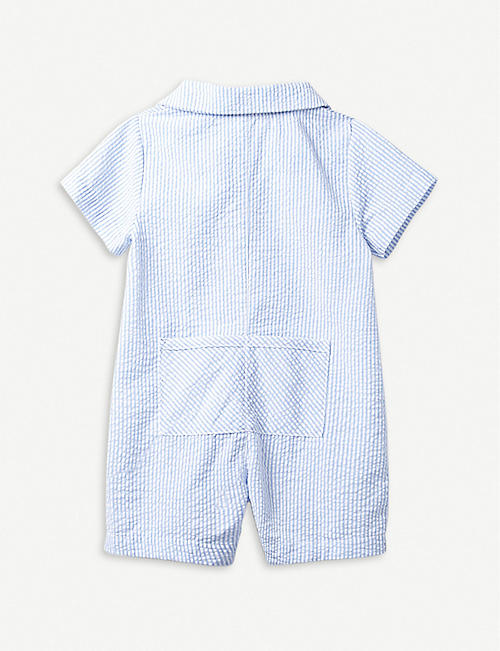 THE LITTLE WHITE COMPANY Striped car-motif seersucker baby-grow 0–24 months