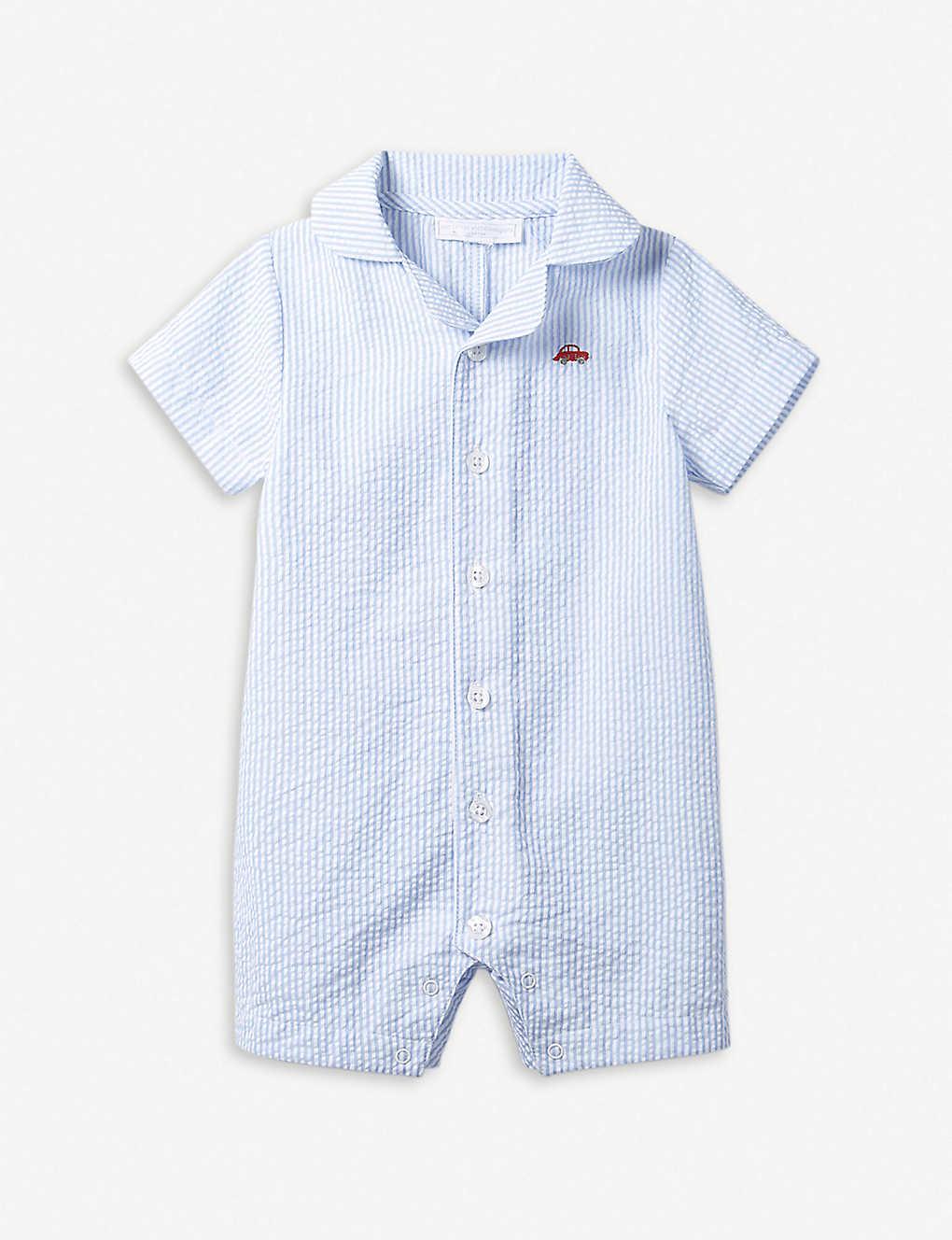 285cf9901a22c THE LITTLE WHITE COMPANY Striped car-motif seersucker baby-grow 0–24 months