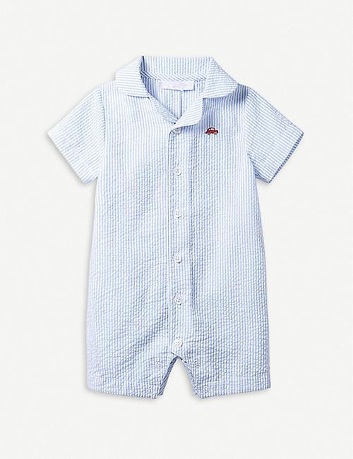 58f37a8fa THE LITTLE WHITE COMPANY Striped car-motif seersucker baby-grow 0–24 months