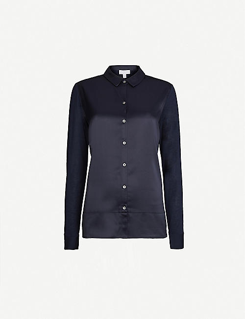 THE WHITE COMPANY Slim-fit satin-jersey shirt