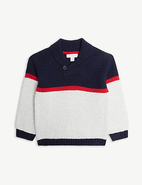 7963149eb THE LITTLE WHITE COMPANY Striped shawl neck cotton jumper 1-6 years