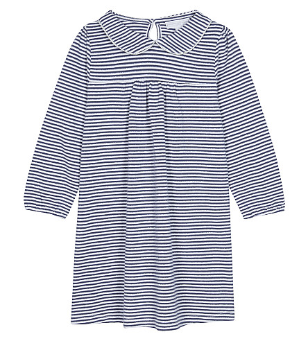 7a742afcc5657 THE LITTLE WHITE COMPANY Striped metallic finish jersey dress 1-6 years  (Navy