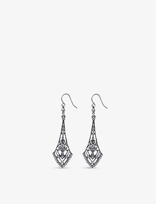 THE WHITE COMPANY: Silver Ox zinc and glass earrings