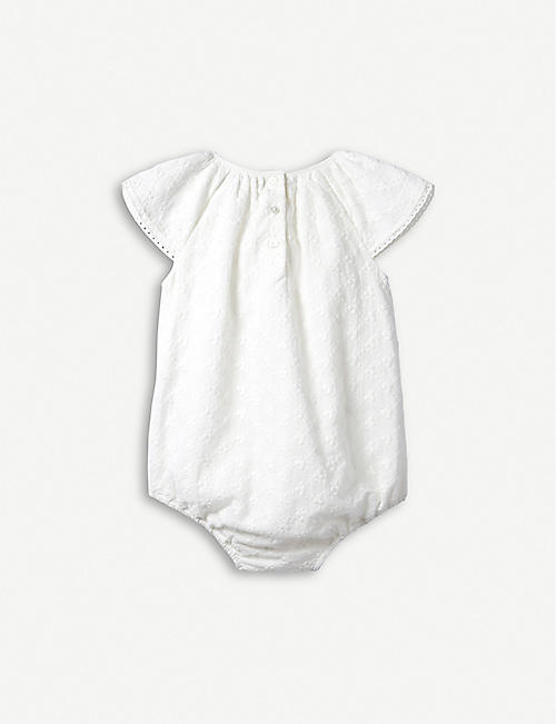 THE LITTLE WHITE COMPANY Lace-trimmed cotton-broderie bubble romper