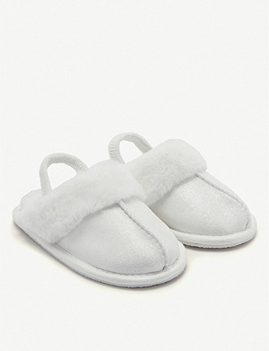 THE LITTLE WHITE COMPANY Sparkle faux-fur mule slippers size 0 months-7 years